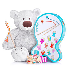 Discover this perfect new born gift: a cuddly soft teddy bear and an exciting fish game.
