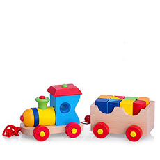 A classic wooden train with building bricks.