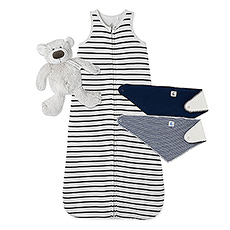 A soft Petit Bateau striped sleeping bag, a trio of bibs, and a very soft cuddly bear make for the perfect baby gift.