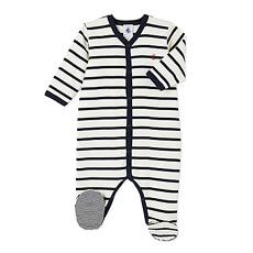 Crafted in a sailor stripe rib, this baby's sleeper stands out with its milleraies stripe foot soles.