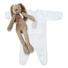 This unisex baby sleeper with a soft plus rabbit is just adorable!