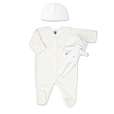 Keep baby cozy and happy in this high quality Petit Bateau sleeper, little hat and with the cutest Petit Bateau rabbit lovey.