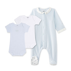 This precious Petit Bateau baby gift set for boys includes a baby boy's sleeper and two baby boy short-sleeved cotton bodysuits.