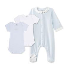 Ce mignon set cadeau pour bébés comprends un dors bien bébé garçon et 2 bodies bébé garçon à manches courtes.