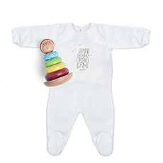 Your baby will love the softness of this sweet Petit Bateau baby sleeper paired with a classic wooden stacking tower.