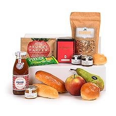 """Notre """"petit déjeuner sain"""" fournit tout ce dont vous avez besoin pour commencer votre journée plein dénergie. Une sélection de produits sains et savoureux pour le repas principal de la journée : le petit-déjeuner."""