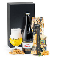 A delicious bottle of Duvel Belgian beer is presented with Dutch cheese, a duo of artisan Belgian beer patés, and tasty biscuits.