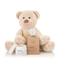 Discover the perfect gift idea for mom & baby. This lovely gift includes a soft, loveable teddy bear for baby and nourishing Oolaboo Super Foodies Luscious Body Butter to pamper the new mother.