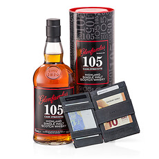 Presenting a high end gift that all the special men in your life will love: complex, oaky Glenfarclas 105 Highland Single Malt Scotch Whisky and the sought-after Garzini Magic Wallet. Send this handsome gift duo for Father's Day, his birthday, your wedding anniversary, or as a unique holiday gift idea for guys.