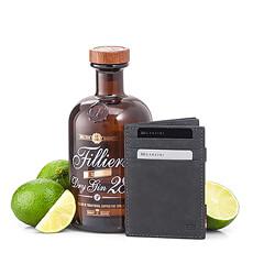 Voici le cadeau parfait pour le gentleman. Avec une bouteille de Filliers Gin accompagné par le portefeuille Magique de Garzini vous saurez lui surprendre pour chaque occasion importante.