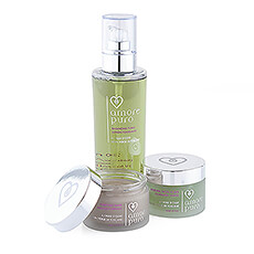 Amore Puro Soins du Visage : Purifying Mask, Facial Scrub, Tonic Lotion.
