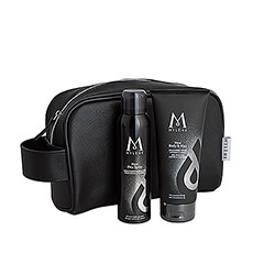 Refreshing deodorant spray and 2-in-1 hair & body wash, packed together in a handy black toiletry bag.