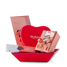 This gift comes straight from the heart! A range of luxurious Neuhaus chocolates are packaged in a beautiful, pink and red basket with leather look.