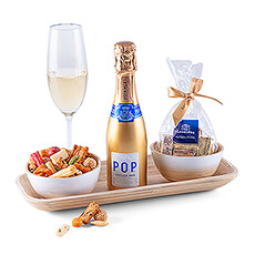 Get the party started with this stylish aperitif gift with a POP Gold Pommery Champagne, Leonidas Gianduja's and a Japanese aperitif mix.
