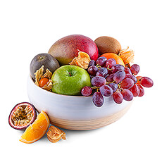 Treat someone special to this stylish new fruit gift for the holidays. A scrumptious selection of classic and exotic fresh fruit is presented in a beautiful LO Tableware bamboo bowl.