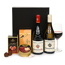 A pair of French wines and luxury Godiva Belgian chocolates are sure to impress in this best-selling luxury business gift for Europe.