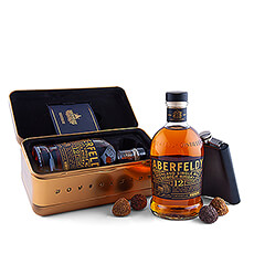 "This Gold Bar with Aberfeldy Scotch Whiskey incites a real ""whiskey gold rush."" This luxury alcohol gift is accompanied by a whiskey pocket flask and delicious Godiva chocolate truffles."