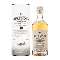 The Aultmore single malt Scotch whisky is known for its elegant, light, and fruity character. Aged 12 years, it has hints of vanilla, pear, apple, and custard, with a light body and no smokiness.