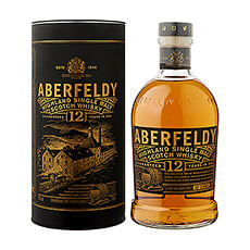 Discover Aberfeldy 12 Years Old Highland Single Malt Scotch Whisky: a full amber gold whisky aged 12 years in oak casks.