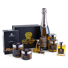 Immerse yourself in a world of luxury with this exquisite gift with AR Lenoble Champagne, a gift box with delicacies based on olive oil from Golden Heritage and delicious crackers with extra virgin olive oil from La Chinata.