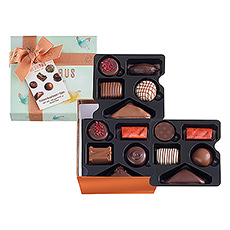 A colorful spring giftbox filled with a selection of 15 delicious pralines.