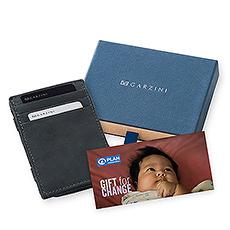 Découvrez le cadeau parfait: le Portefeuille Magique Garzini en Cuir Véritable RFID, combiné avec une carte cadeau de Plan International Belgique pour aider au plus petits pour avoir un bon départ dans la vie.