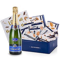 La boîte en métal de Jules Destrooper vous offre une bouteille de Pommery Brut Royal champagne et une sélection des meilleurs biscuits Jules Destrooper.