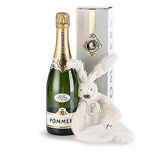 Surprenez les nouveaux parents avec un câlin pour leur nouvelle pousse et une délicieuse bouteille de champagne Pommery Blanc de Blancs à savourer à deux.