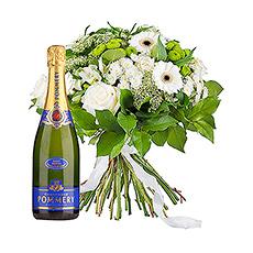 Profitez de moments festifs avec un bouquet blanc élégant et une bouteille de champagne Pommery.