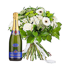 Enjoy festive moments with a stylish, white bouquet and a bottle of top Pommery champagne.