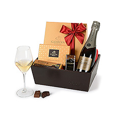 Godiva Xmas Leather Hamper Stand With Champagne