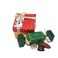 Enjoy the finest Neuhaus Belgian Christmas chocolate assortments with this festive gift duo: a traditional Christmas cracker with delicious BonBons and a beautiful red gift box with 15 iconic chocolate pralines.