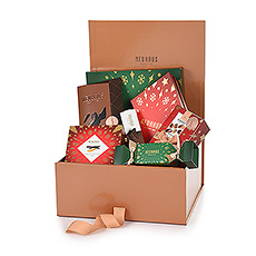 This beautiful box is packed with Belgian Neuhaus chocolates, orangettes, chocolate bars and even a Christmas Tree box filled with delicous chocolates.