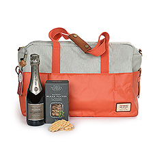Get away for the weekend in style. A chic Hedgren weekend bag is packed with a half bottle of Champagne Lenoble, our favorite house Champagne, and tasty black pepper & sea salt crackers.