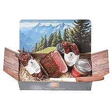 Treat the foodies in your life to the finest gourmet meats this Christmas: artisan salami, mountain sausage, venison paté, and bacon loin. A great Christmas gift idea for guys!