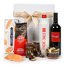 Sample the best of Flemish flavors with this gift set featuring Belgian chocolates, Jules Destrooper biscuits, Grootmoeders coffee, Belgian beer paté, Entre-Deux-Monts Rouge red wine, and traditional Belgian Jenever 't Wit Pulleke 38% juniper spirits.