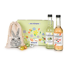 Celebrate Easter with a wonderful spring gift that is perfect for all ages. The gift offers a pair of non-alcoholic bubbly drinks, Jules Destrooper biscuits in a pretty springtime gift tin, and scrumptous Leonidas chocolate Easter eggs in a cute bunny gift bag.