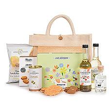 Tout ce dont vous avez besoin pour un apéritif amusant et emballé à la main dans un sac fourre-tout écologique, pratique à emporter partout.