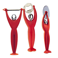 BUGATTI Gym Peeler, Bottle Opener & Pizza Cutter Red