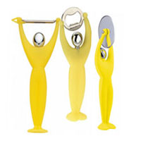 BUGATTI Gym Peeler, Bottle Opener & Pizza Cutter Yellow