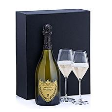 Un cadeau stylé Dom Pérignon et 2 verres de champagne Schott Zwiesel.