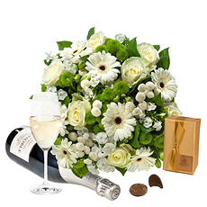Send these flowers suitable for any occassion. A white flower bouquet, delicious champagne and Belgian chocolates.