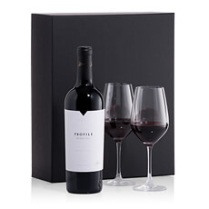 Napa Valley premier wine with 2 wine glasses - an elegant gift.