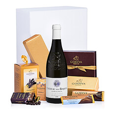 This elegant Château Des Roques Vacqueyras white wine gift box is a popular Godiva and wine gift for birthdays, anniversaries, holidays, and corporate gifts.