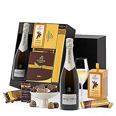 Gâtez les sens avec ce panier luxueux et délicieux avec du chocolat de Godiva et du champagne.