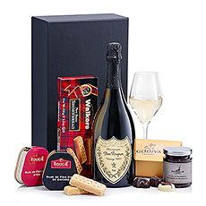 Indulge someone very special in the incomparable luxury of Dom Pérignon Vintage Champagne, French Foie Gras, and Godiva Belgian chocolates. An opulent gift set for life's most important occasions.
