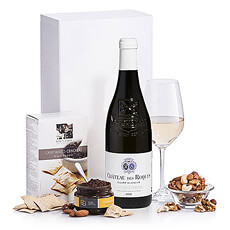 Send a white wine gift box to Europe to express appreciation, say congratulations, or for the holidays. A favorite corporate gift, this elegant set includes a bottle of Vacqueyras white wine, olive tapenade from Provence, gourmet crackers, and mixed nuts.