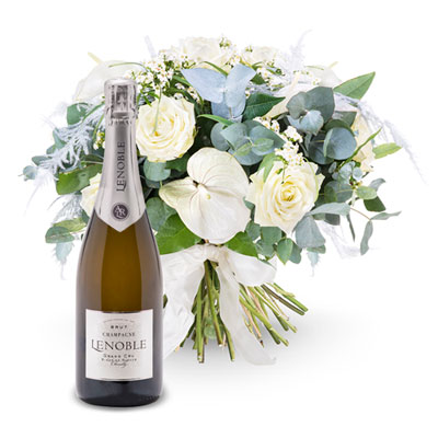 Send your warmest wishes with this White Tradition Bouquet with a sparkling bottle of Champagne Lenoble Brut.