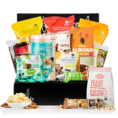 This large Oxfam Fair Trade gift box overflows with a delicious assortment of sweet and savory Fair Trade products. With plenty to share, it is a very popular Fair Trade office gift idea.