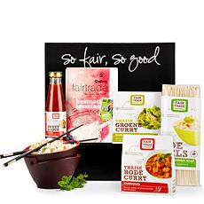 Le commerce équitable et la gastronomie sunissent dans notre coffret cadeau « cuisine exotique » dOxfam Fair Trade, garni de délicieux produits Thaï et asiatiques.